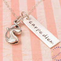 Rectangle Tag Necklace:  engraved name tag with FORTUNE COOKIE charm