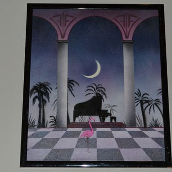 """Large 1986's Canvas Painting """"Flamingo Concerto"""" from Bob Kuechenberg's State of the Art Gallery"""