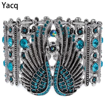 YACQ Guardian Angel Wings Stretch Cuff Bracelet for Women Biker Crystal Punk Jewelry Gift Antique Silver Color ping D05