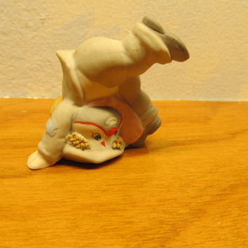 VINTAGE ENESCO CLOWN FIGURINE STANDING ON HIS HEAD MADE IN MALAYSIA FOR ENESCO IMPORT CORP.