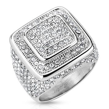 Square Dome Micro Pave Gems with Gemmed Sides Stainless Steel Ring