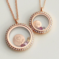 Mothers Daughter Locket Set . Rose Gold CZ Halo Floating Lockets . Big and Little . 3 Gemstones . Personalized Disc, Mother Daughter Gift