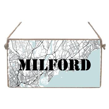 Milford, Connecticut Map - Mini Plank - 11-in