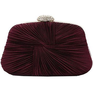 Womens Satin Evening Clutch Bags for Wedding and Party Beaded Prom Purse JY26
