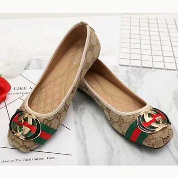 467953d92be9 Gucci Big logo Green Red Stripe Print Flat Shoes Canvas Women Sa