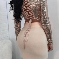 Trouble Bandage Sequin Top