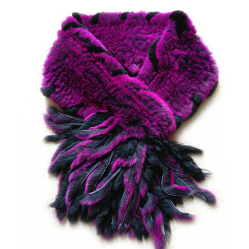 The new style genuine  real fur scarf grid knitted rex rabbit fur scarf Autumn winter Neck warm stole fur Shrug Tassels Shawl