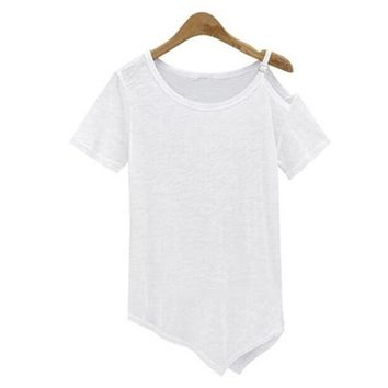 2016 New Fashion Women T shirts O-neck Women Top Off Shoulder Short Sleeve Female Off Shoulder With Button tops 70617
