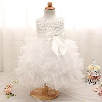 Newborn Baby Girls Dresses Beads Bow Kids Christening Gowns Birthday Dress Princess Outfits