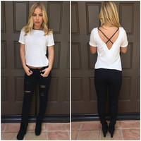 Trim in Leather Tee