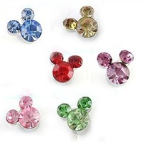 JC185 Mickey Earrings Disney Earrings, Faux Crystal Earrings, Six Colors -Red