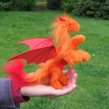 dragon posable doll orange red bat demon wings ceramic yellow eyes fantasy pet miniature faux fur handmade plush Jerseydays