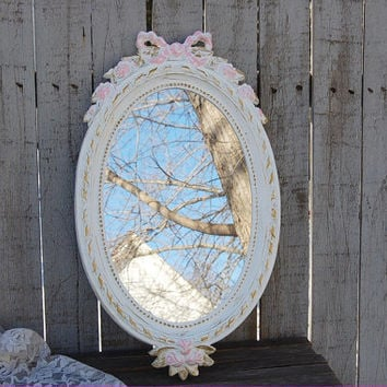 Shabby Chic Mirror, White, Pink, Gold, Oval, Upcycled, Vintage, Ornate, Burwood, Wedding Decor, Nursery Decor, Painted, Hand Painted