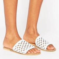 ASOS FERDINAND Woven Leather Sliders at asos.com