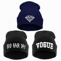 VOGUE Diamond bad hair day knit bonnet winter women,femme skullies,gorros de lana invierno