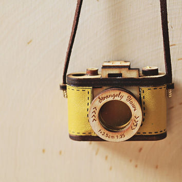 Mustard Yellow Wood and Leather Camera Necklace- Aztec Red, Salmon Pink Christmas gift