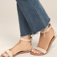 Wren Blush Suede Ankle Strap Sandals