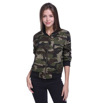 Fashion Military Women Jacket 2017 Autumn Zipper Outwear Coats Female Vintage Camouflage Army Green Jackets