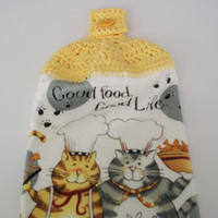 Sunny Yellow Crochet Towel Topper with Chef Cats Set of 2