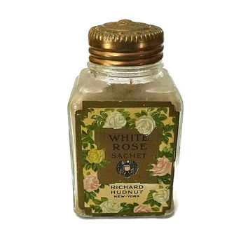 Rare Antique Richard Hudnut White Rose Sachet Powder 1900's Hudnut Embossed Glass Bottle Jar Art Nouveau Art Deco Roses Perfume Powder Jar
