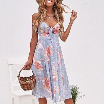 Sexy Strap V Neck Midi Dress Women Floral Print Backless Beach Party Dress