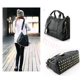 Women PU Leather black  Handbag Ladies Shopping Tote Shoulder Big Bag Purse Rivet (Color: Black) = 1698051588