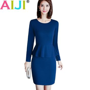 autumn solid women work wear long sleeve one-piece dress OL Elegant ruffles slim dresses office ladies plus size formal uniform