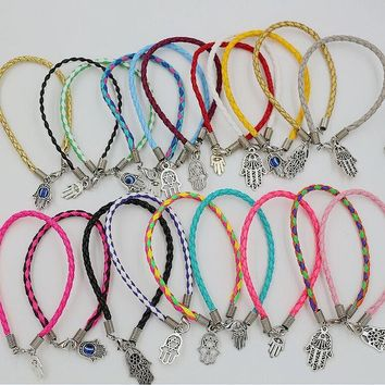 50 Pc Mixed Kabbalah Hamsa Evil Eye Protection Charms 20 Colors Braided Leather String Bracelets
