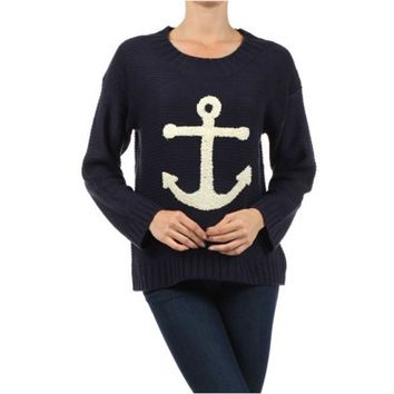 Nautical Navy Blue Anchor Sweater