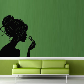 Wall decal decor decals art girl flower beauty woman hairstyle shop gift (m713)