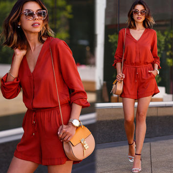 Red Drawstring Romper
