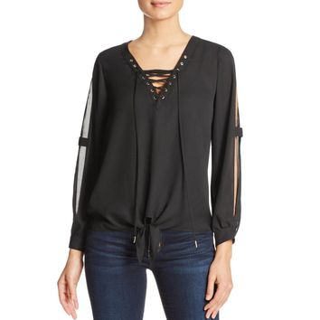 Dora Landa Womens Georgette Lace Up Blouse