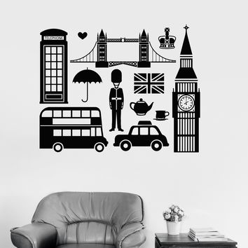 Vinyl Wall Decal English England Symbol Big Ben London Stickers Mural Unique Gift (ig3331)