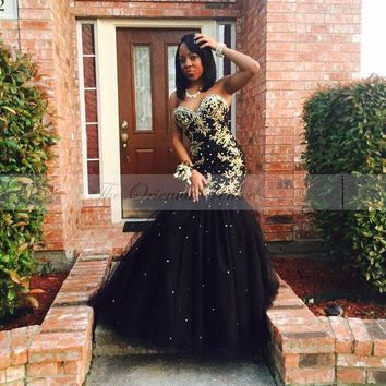 Gold Appliqued Beaded Black Mermaid Prom Dress for Girls Sweetheart Tulle African Style Long Evening Gowns 2017 Graduation Dress