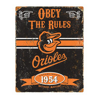 Baltimore Orioles MLB Vintage Metal Sign (11.5in x 14.5in)