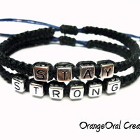 Stay Strong Bracelet Set, Black Macrame Hemp, Adjustable Bracelets - $20.00 - Handmade Jewelry, Crafts and Unique Gifts by OrangeOval