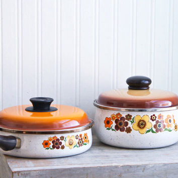 Vintage Enamelware Pots Pans - Harvest Blossom Pattern - Brown Orange