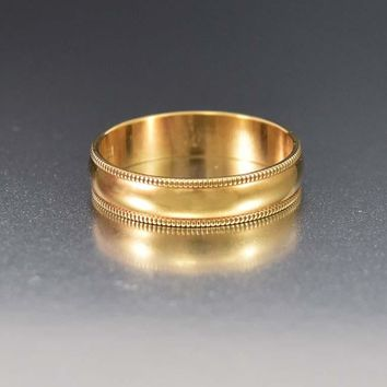 Awesome Wide 10K Yellow Gold Wedding Band Ring
