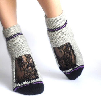 Black Chantilly lace Hand beaded Hand knit Gray Purple Girls  Winter Fall Christmas Socks in Gift Box Free Shipping