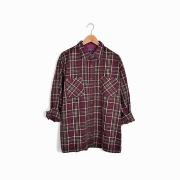 Men's Vintage Flannel Plaid Lumberjack Shirt in Oxblood & Green  - men's large