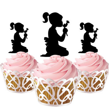 6 pcs in one set little girl CupCakes toppers for party decor, girl cupcake toppers acrylic,  topper for birthday, kids birthday