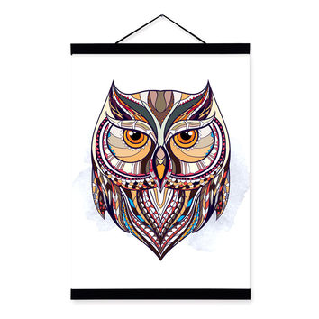 Modern Ancient African National Totem Animals Owl Head A4 Framed Canvas Painting Wall Art Prints Picture Poster Home Decoration