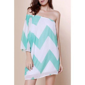 Fashionable One-Shoulder Chevron Printed 3/4 Sleeve Chiffon Dress For Women