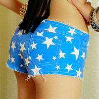 Candy Color Stars Distressed Slim Shorts