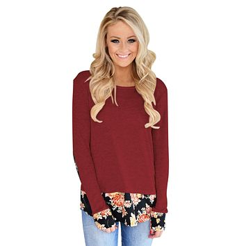 Dark Floral Patchwork Burgundy Long Sleeve Shirt