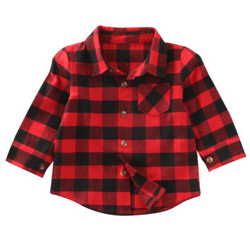 Spring Autumn 2017 Kids Shirts Boys Girls Long Sleeve Red Black Plaids Checks Casual Tops For Children's Blouse Clothes Hot