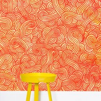 'Orange and red swirls doodles' Wallpaper by Savousepate on miPic