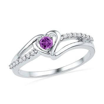 10kt White Gold Women's Lab-Created Amethyst Heart Love Ring 1/5 Cttw - FREE Shipping (US/CAN)