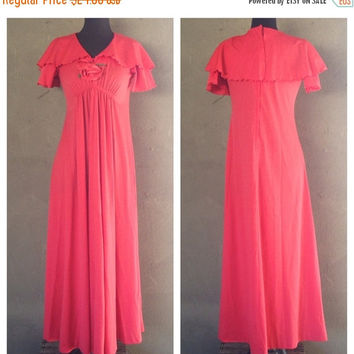 HALF OFF Vintage 1970s Pink Rose Maxi Dress M (i)