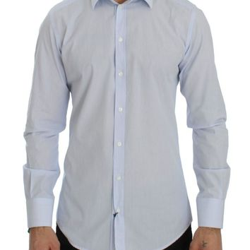 Blue Striped GOLD Slim Fit Dress Shirt